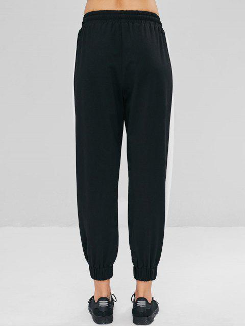 Pantalones Jogger de contraste de cintura baja - Negro S Mobile