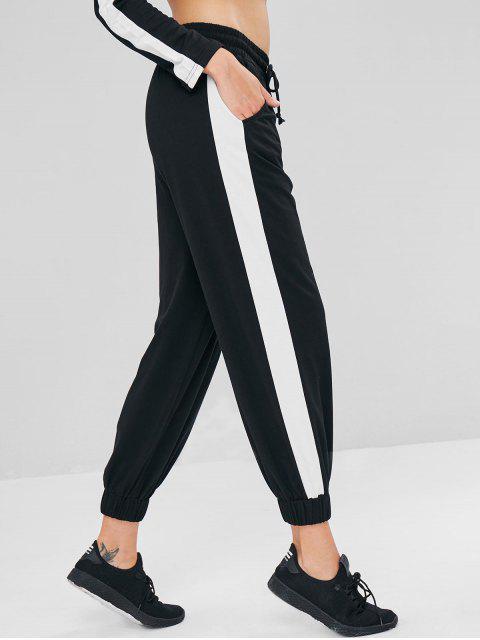 women's Low Waist Contrast Jogger Pants - BLACK L Mobile
