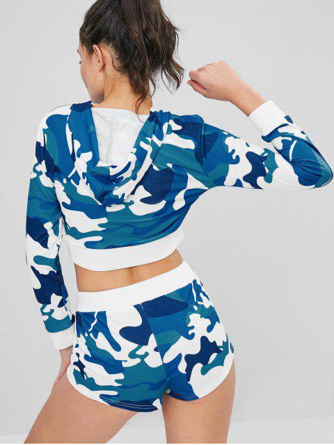 outfit Camouflage Crop Hoodie and Shorts Set - BLUE L Mobile