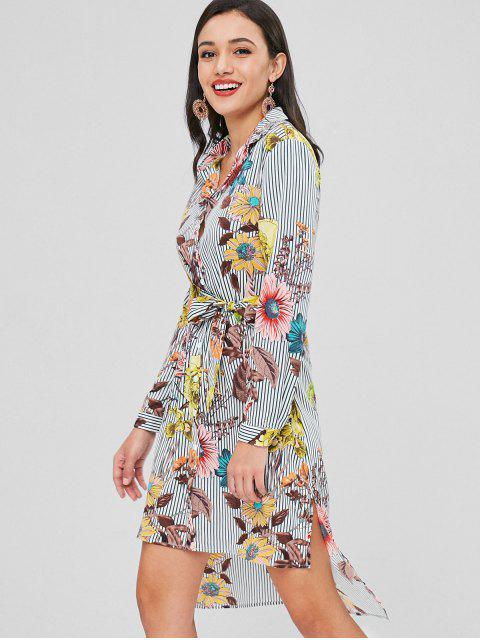 Vestido de camisa floral con rayas bajas - Multicolor L Mobile