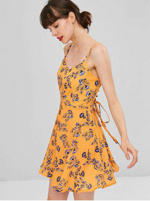 outfits Floral Lace Up Cami Dress - CANTALOUPE M Mobile
