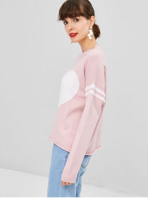 shop Contrasting Heart Sweater - LIGHT PINK ONE SIZE Mobile