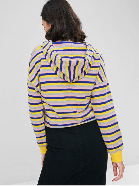 women Raw Hem Pullover Striped Hoodie - MULTI L Mobile