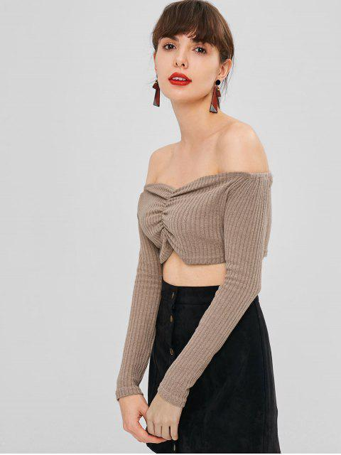 lady Gathered Ribbed Off Shoulder Top - PUCE L Mobile