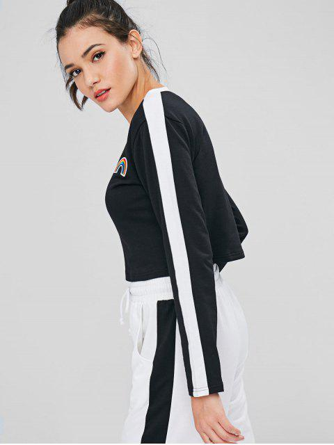best Striped Embroidered Rainbow Patch Sweatshirt - BLACK L Mobile