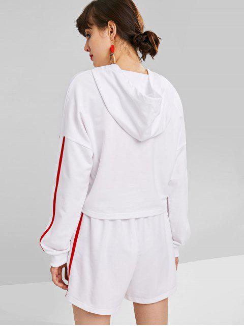 hot Cropped Hoodie and Shorts Two Piece Set - WHITE L Mobile