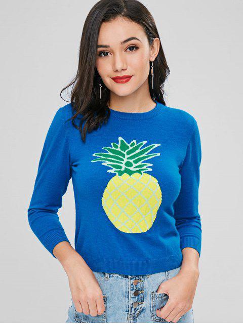 Suéter com Estampa de Abacaxi e Gola Redonda - Azul Cristal S Mobile