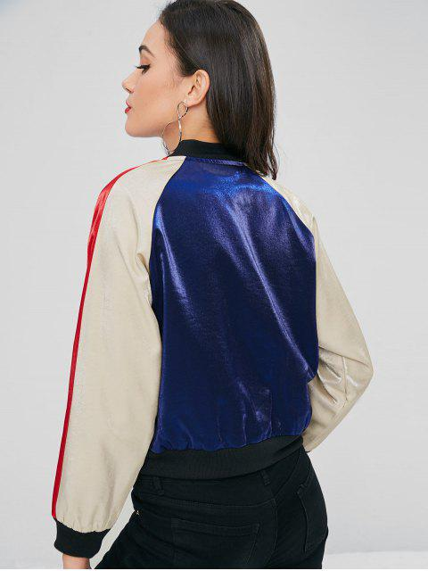 latest Snap Button Three Tone Jacket - MIDNIGHT BLUE S Mobile