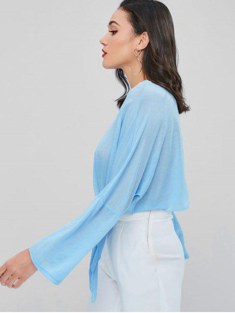 sale Semi Sheer Knotted Tee - SEA BLUE ONE SIZE Mobile