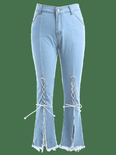 Slit Lace Up Boot Cut Jeans - Azul de Jeans  S Mobile