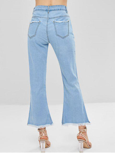 outfits Slit Lace Up Boot Cut Jeans - JEANS BLUE M Mobile