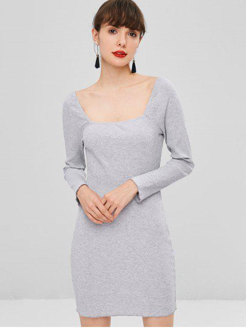 affordable Square Neck Ribbed Dress - BLUE GRAY L Mobile