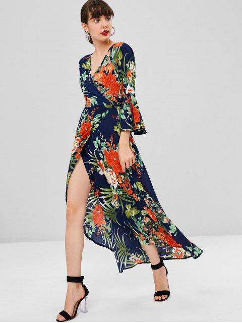 buy Floral Bell Sleeve Maxi Wrap Dress - DEEP BLUE M Mobile