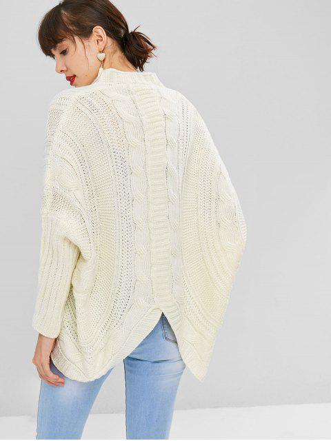 latest Dolman Sleeve Cable Knit Cardigan - WARM WHITE ONE SIZE Mobile