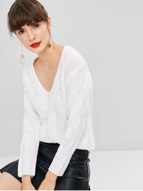 outfits Cable Knit Chunky Sweater - WHITE ONE SIZE Mobile