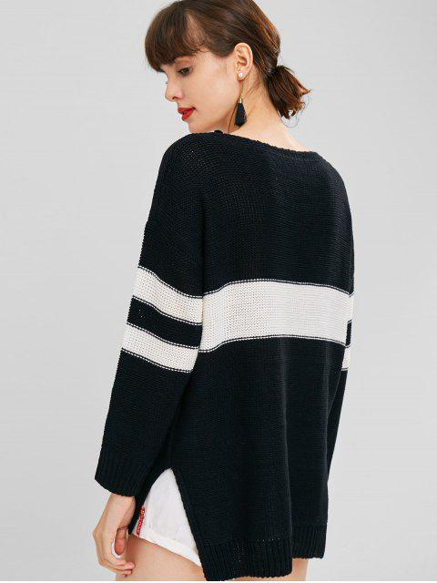 shops Side Slit Contrast Sweater - BLACK ONE SIZE Mobile