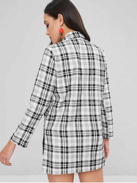 women's Side Pockets Checked Longline Blazer - MULTI L Mobile