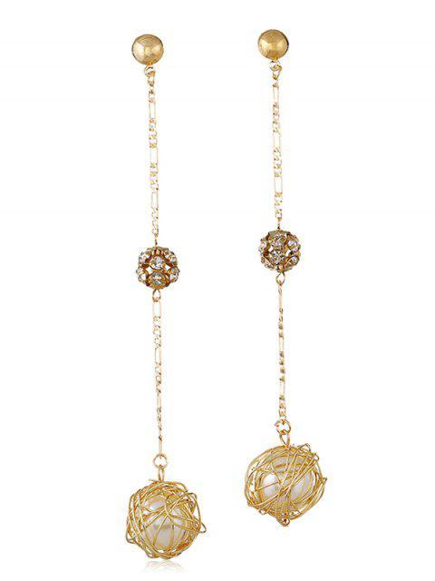 Pendientes largos colgantes de perlas artificiales de diamantes de imitación - Oro  Mobile