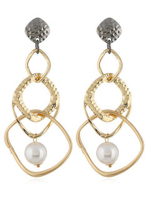 Künstliche Perle Geometrische Form Ohrringe - Gold  Mobile