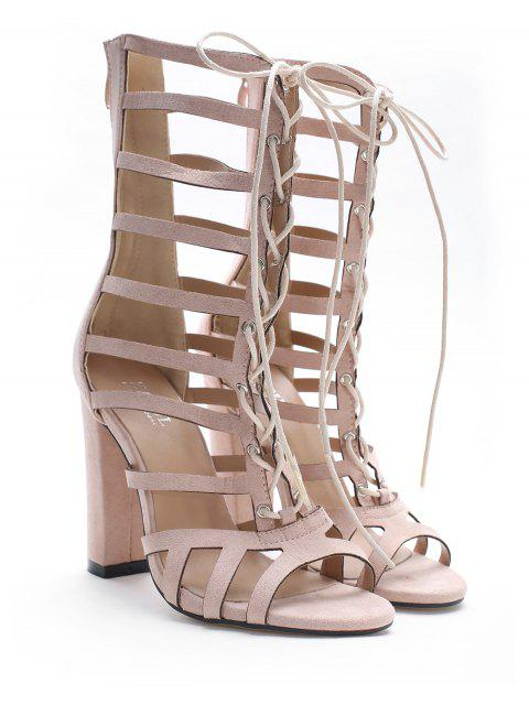 outfit Lace Up Hollow Out Chic Sandals - SAKURA PINK 37 Mobile