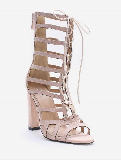 shop Lace Up Hollow Out Chic Sandals - SAKURA PINK 39 Mobile
