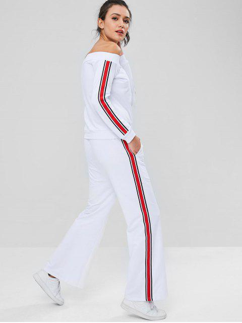 women Off Shoulder Side Stripes Pants Set - WHITE XL Mobile