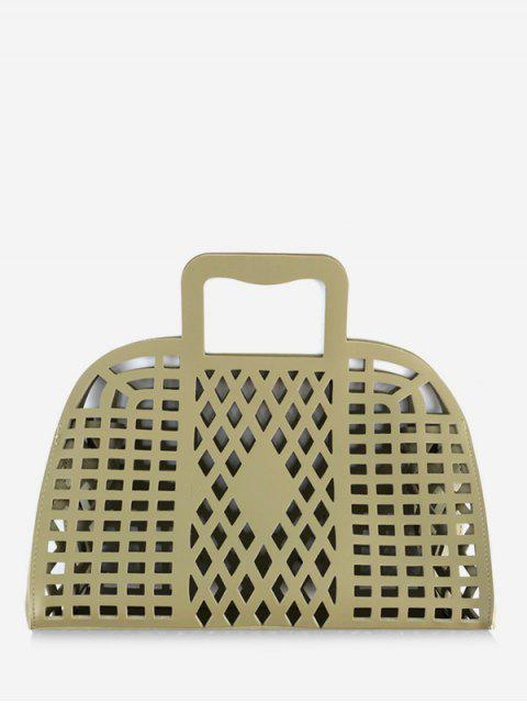 shop Going Out Picnic Breathable Hollow Out Tote Bag - GREEN  Mobile