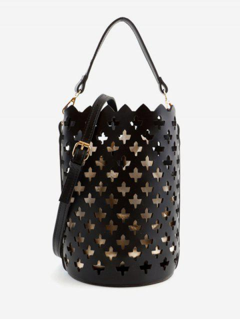 trendy Multi Functions Hollow Out Leisure Bucket Bag - BLACK  Mobile
