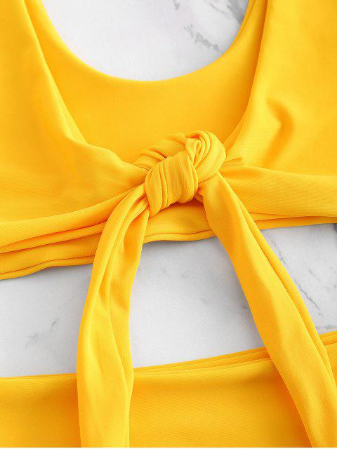 lady High Waisted Front Tie High Leg Bikini - RUBBER DUCKY YELLOW L Mobile