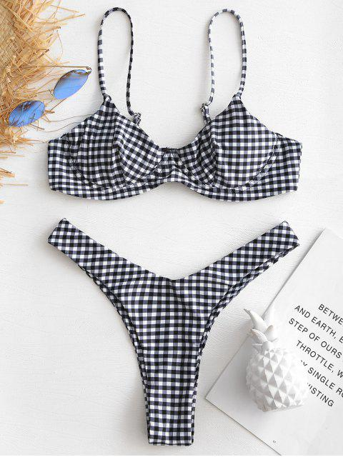 unique Gingham Underwire Push Up Thong Bikini Set - MULTI-A M Mobile