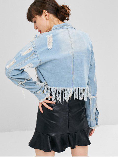 affordable Button Up Ripped Denim Jacket - DENIM BLUE L Mobile