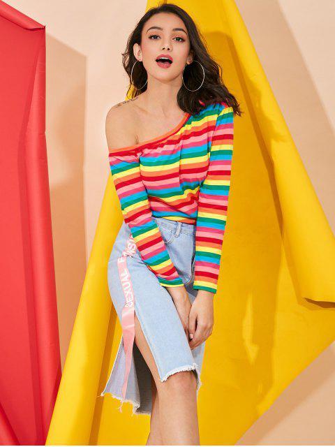 women Colorful Stripes One Shoulder Top - MULTI L Mobile