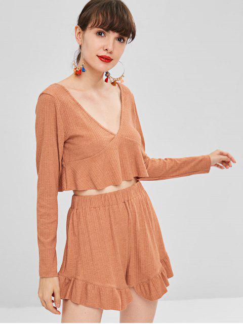 Langarm Crop Top Und Shorts Passendes Set - Orange L Mobile