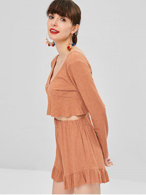ladies Long Sleeve Crop Top and Shorts Matching Set - ORANGE L Mobile