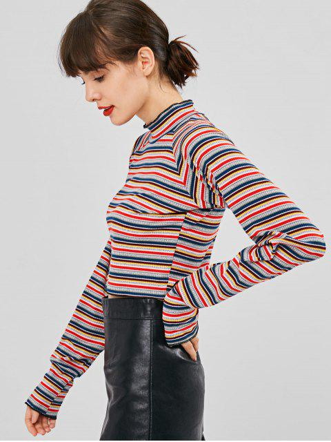 outfits Long Sleeve Striped Ribbed Mock Neck Tee - MULTI M Mobile