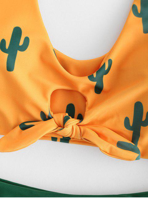 outfits Cactus Print Contrast Knot Bikini Set - BEE YELLOW S Mobile