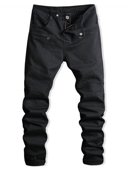 Paint Zip verschönert Biker Jeans - Schwarz 34 Mobile