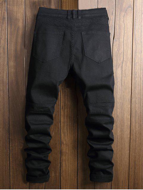 lady Paint Zip Embellished Biker Jeans - BLACK 38 Mobile
