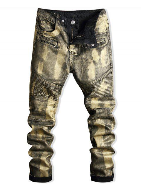 Paint Zip Embellished Biker Jeans - Oro 34 Mobile