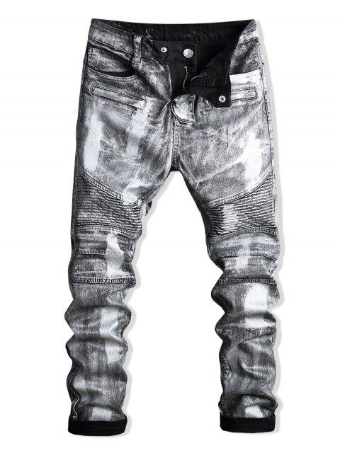 outfits Paint Zip Embellished Biker Jeans - SILVER 34 Mobile