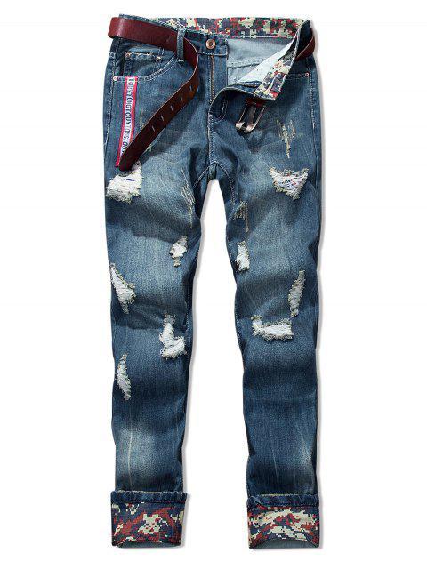 Pantalones vaqueros remiendo del agujero rasgado de la raya - Azul Oscuro de Denim 34 Mobile