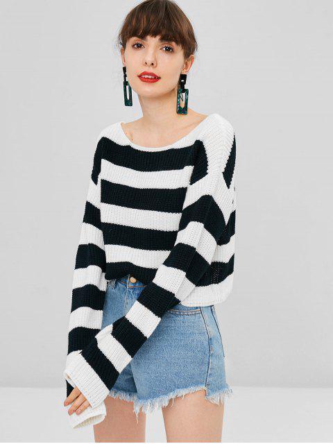 Geschnittener Gestreifter Pullover - Weiß Eine Größe Mobile