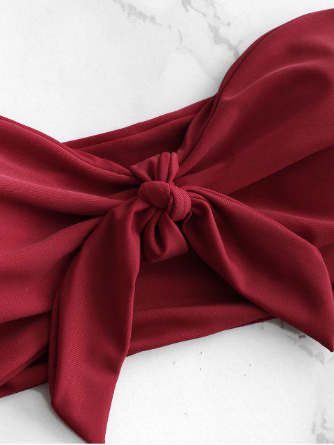 outfits Knotted Bandeau Bikini Set - RED WINE M Mobile