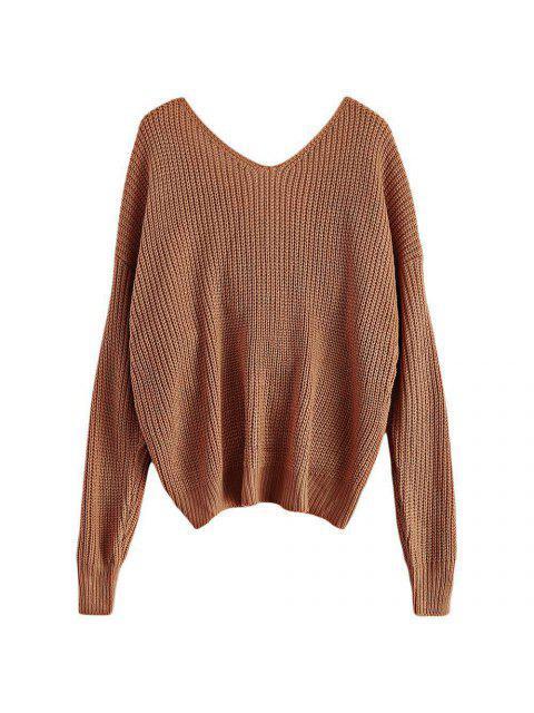 V cuello del suéter trenzado - Caqui Talla única Mobile