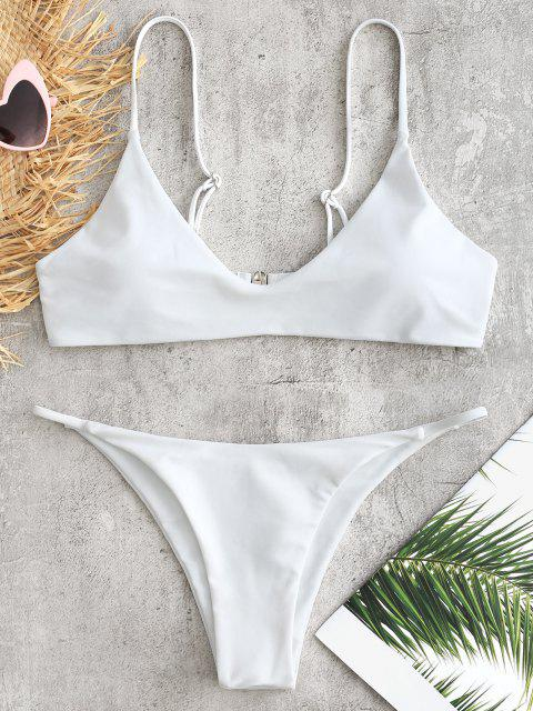 Gepolstertes Niedrige Taille Bikini Set - Weiß M Mobile