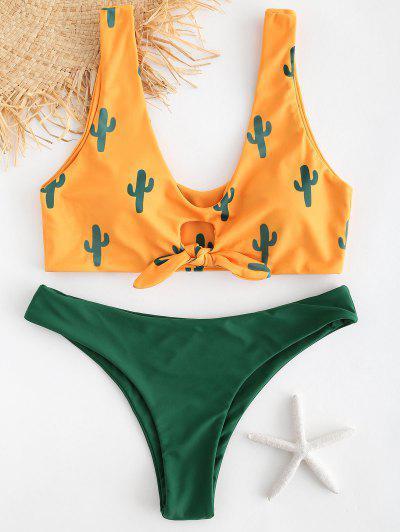 aab82984bee Cactus Print Contrast Knot Bikini Set - Bee Yellow M