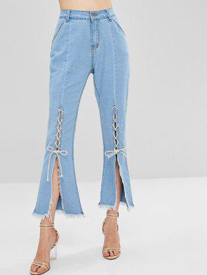Slit Lace Up Boot Cut Jeans - Jeans Blue L
