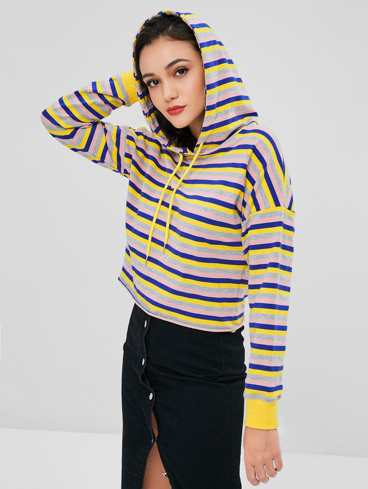 Raw Hem Pullover Striped Hoodie