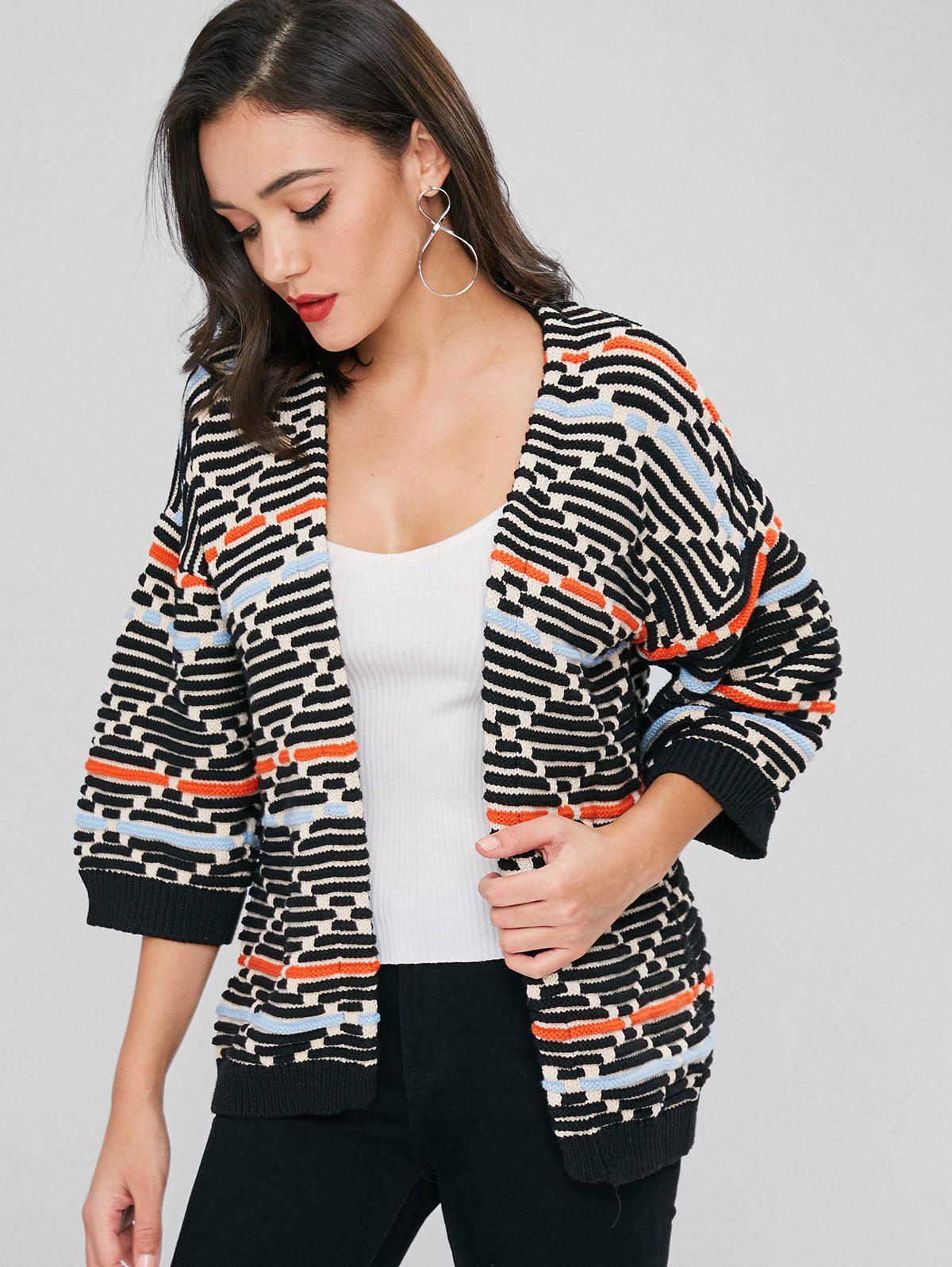 Open Front Textured Stripes Kimono Cardigan, Multi