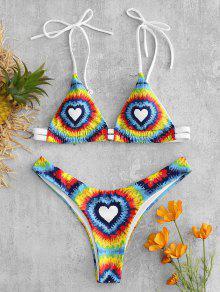 Tie Dye Heart Bikini Set - متعدد L